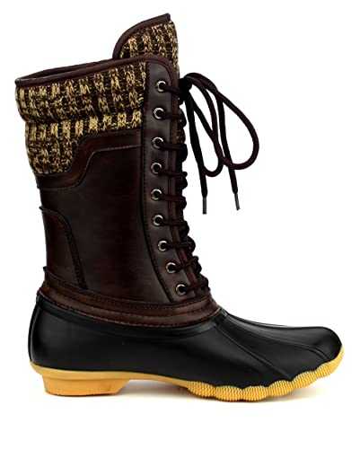 ShoBeautiful Women s Waterproof Duck Boots Rubber Two Tone Mix Media  Skimmers Winter Rain Snow Mid Calf b643db5c1