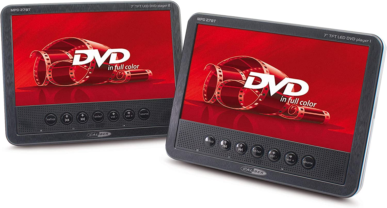 Caliber Mpd278 17 78 Cm 7 Zoll Tragbarer Dvd Player Mit Wiederaufladbarer Batterie Player Und Zusätzlichen Schirm Schwarz Heimkino Tv Video