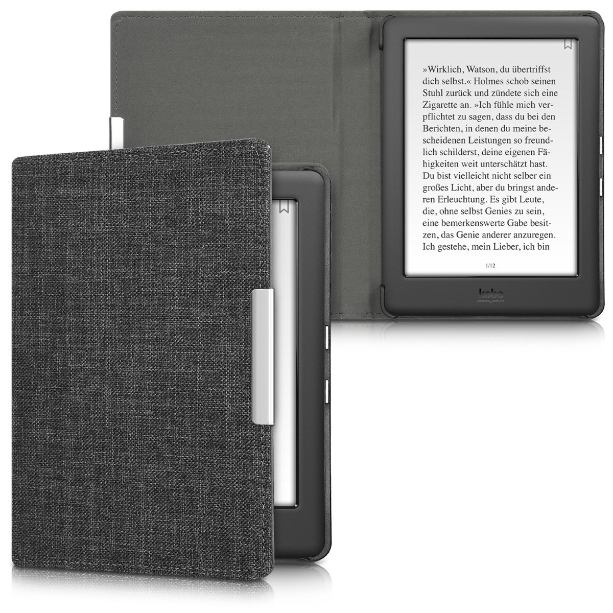 kwmobile Case for Kobo Glo HD (N437) / Touch 2.0 - Book Style Fabric Protective e-Reader Cover Flip Folio Case - Dark Grey KW-Commerce 43008.19_m000394