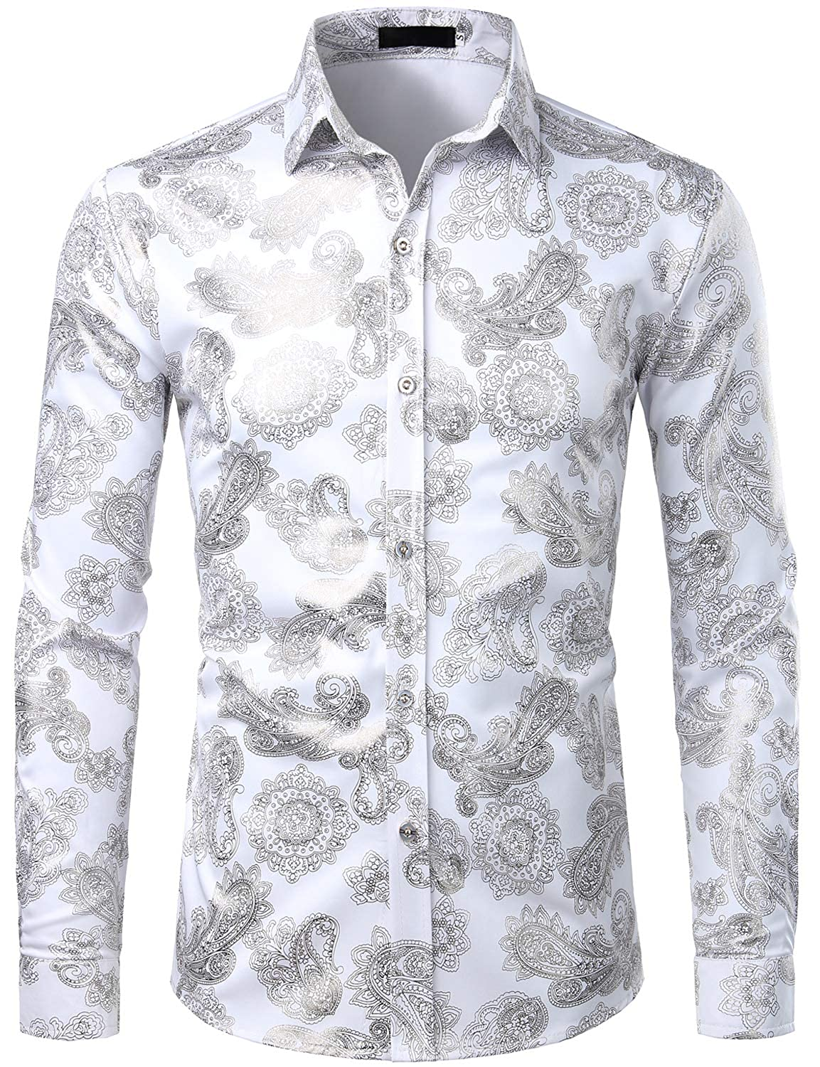 ZEROYAA Mens Hipster Paisley Shirt Luxury Design Slim Fit Long Sleeve Button Down Shirts Party Costume