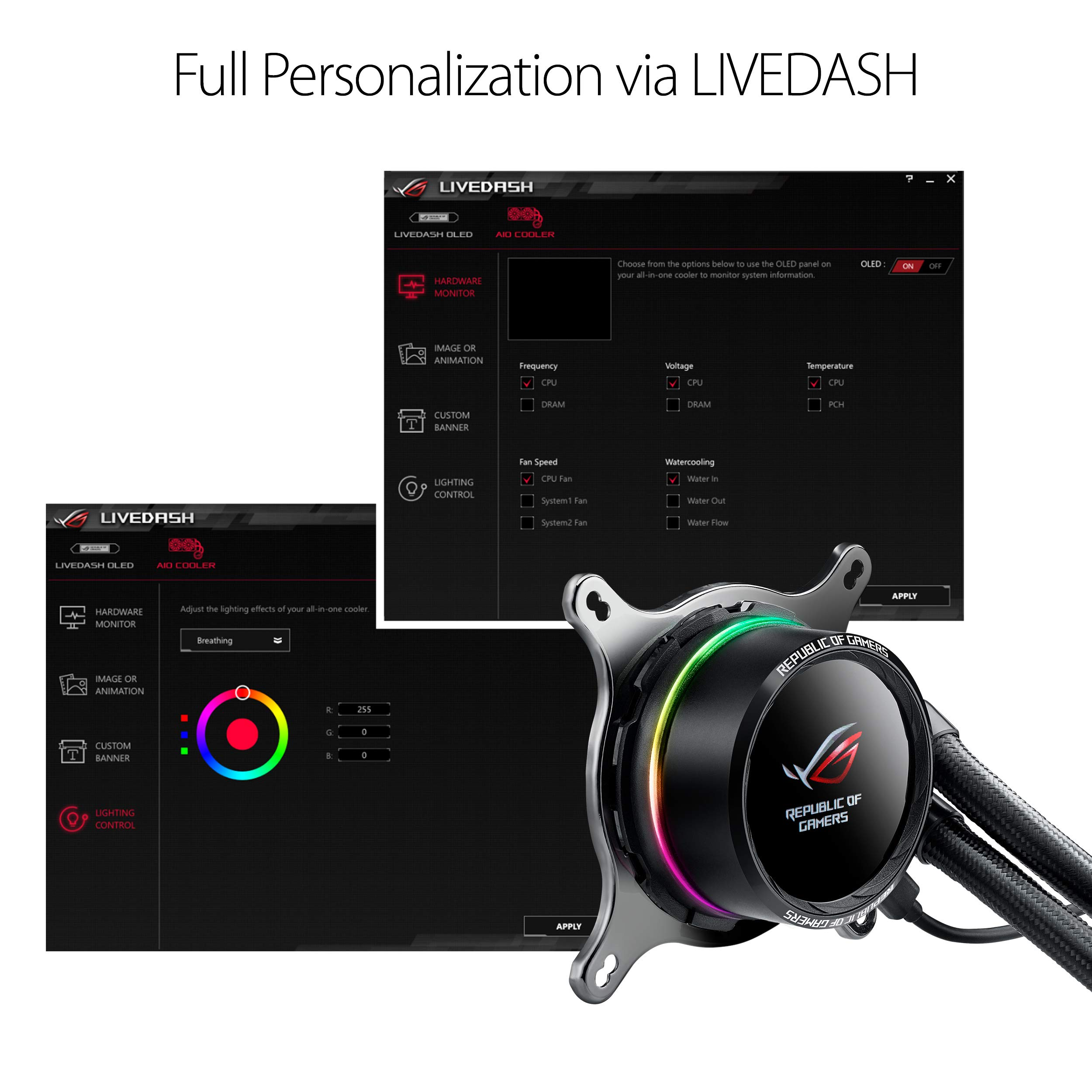 ASUS ROG RYUO 240 RGB AIO Liquid CPU Cooler 240mm Radiator Dual 120mm 4-Pin PWM Fan with OLED Panel & Fan Control 1.77'' by ASUS (Image #4)
