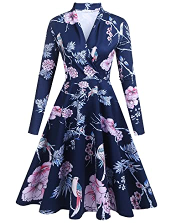 3f65325431a8 Zeakee Women Spring 2018 Fashion Wrap V Neck Long Sleeve Party Dress Navy  Blue Floral X