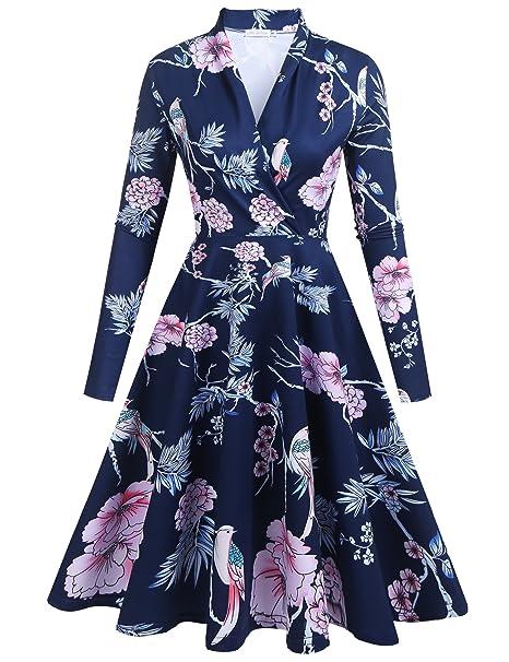 b50a497dd1379 Zeakee Women Casual Floral Print Wrap V Neck Long Sleeve Elegant Swing Dress