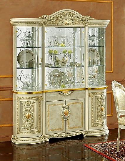 Amazon.com: Leonardo 4-Door China Cabinet | Ivory: Kitchen ...
