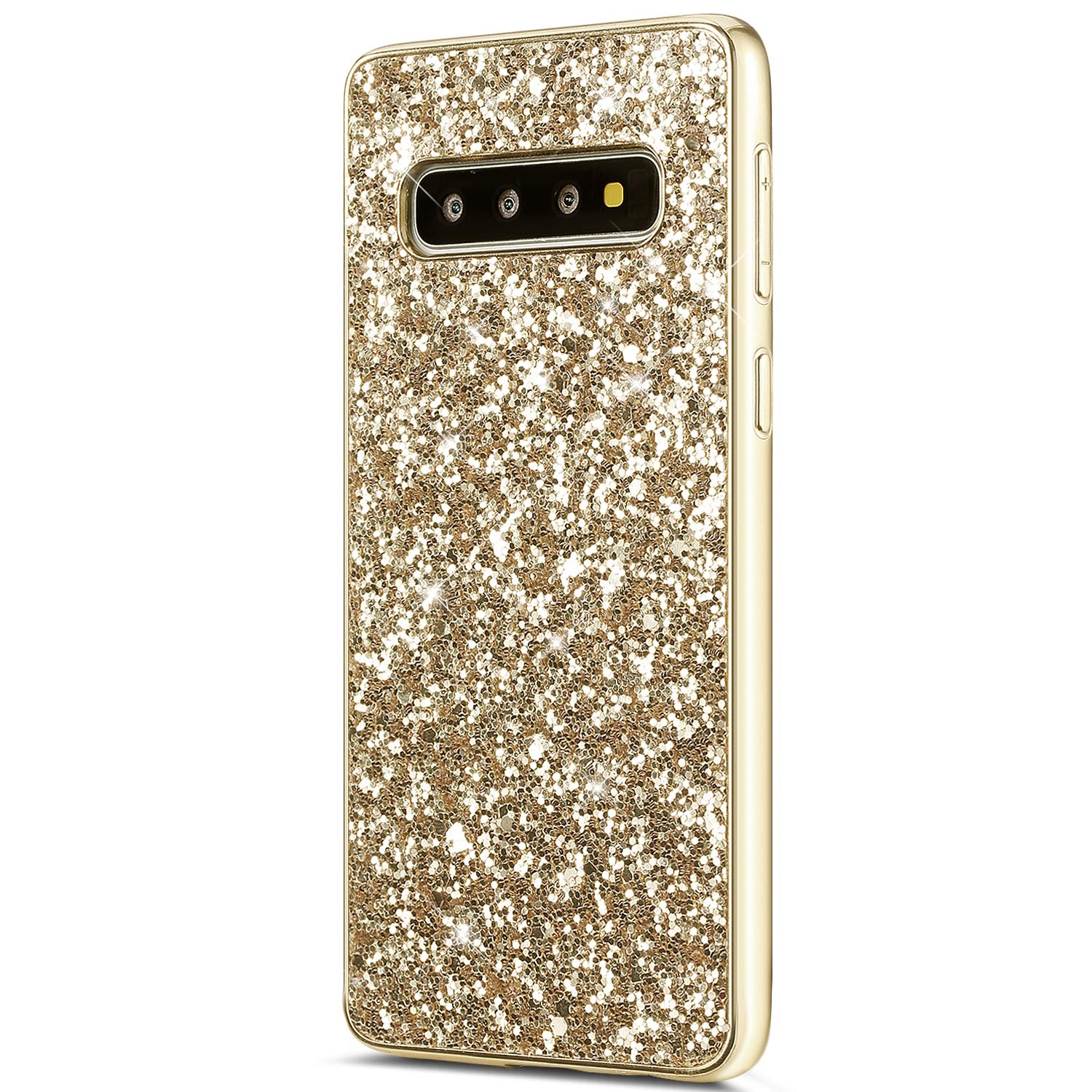 YSIMEE Compatible with Case Samsung Galaxy S10 Plus Silicone Rubber Soft Frame Ultra Slim Gel TPU Bumper Shock Absorption Girls Women Shockproof Protector Bling Glitter Sparkle Hard Back Covers,Gold