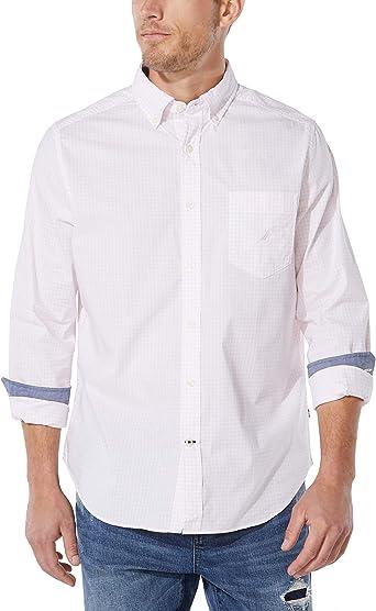 Nautica Camisa de popelina a cuadros para hombre: Amazon.es: Ropa