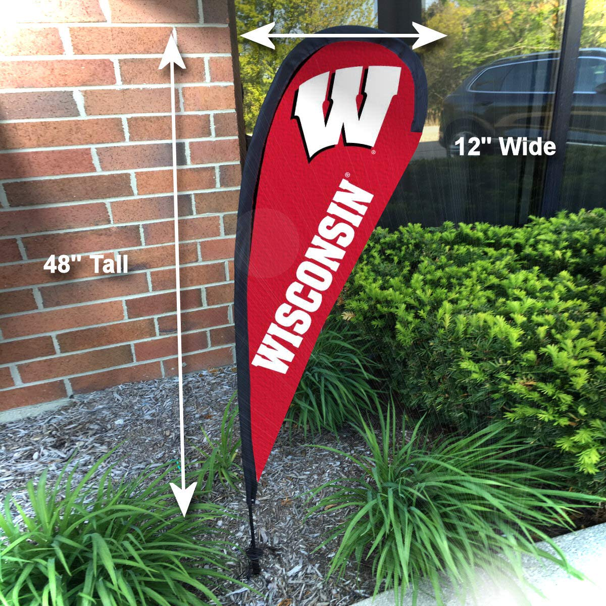 College Flags and Banners Co Wisconsin Badgers Small Feather Garden Flag