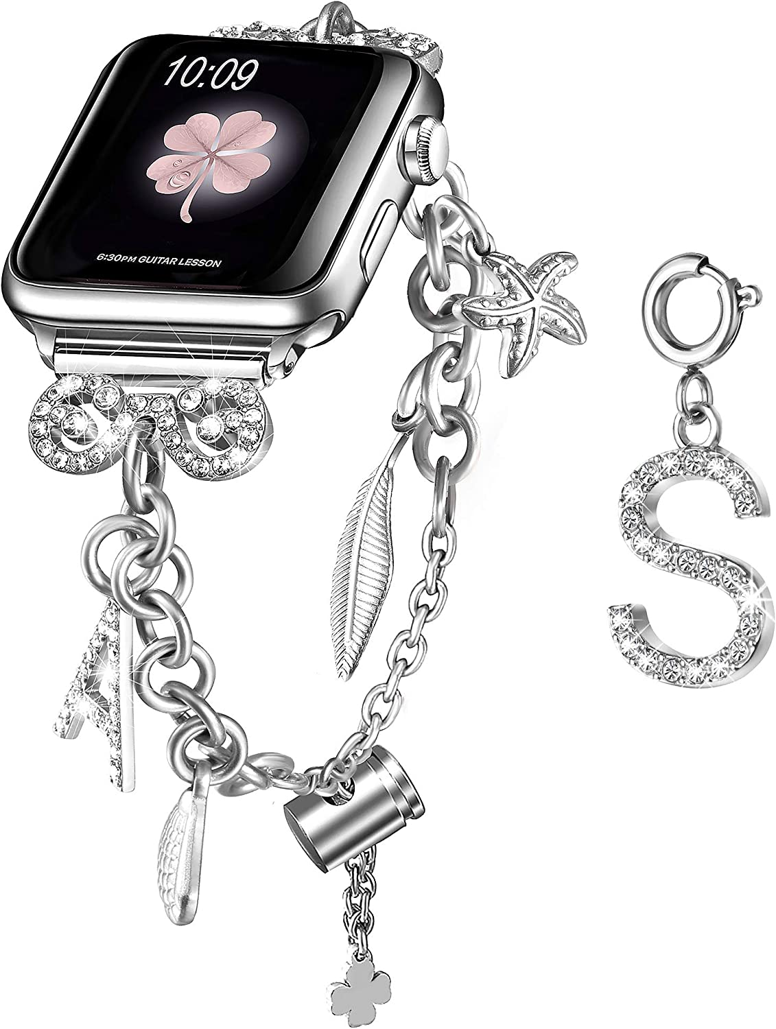 Secbolt Bling Multi-charm Bracelet and Letter S Charm for Apple Watch 38mm 40mm iWatch SE Series 6/5/4/3/2/1, Silver