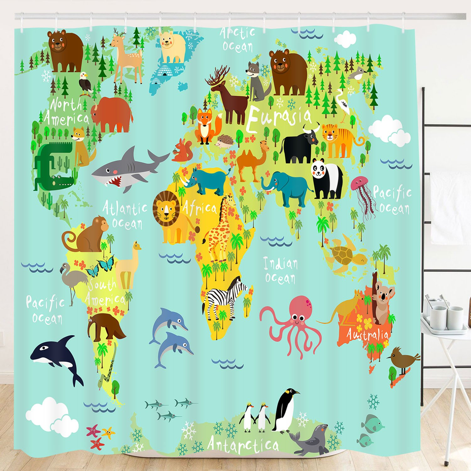 "Sunmner Bathroom Shower Curtain Bathroom Curtain Durable Bath Curtain Bathroom Accessories Ideas Kitchen Window Curtain (Zoo Map, 70""×69"")"