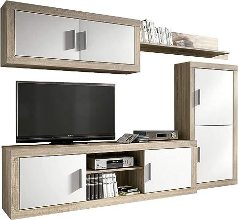 HomeSouth - Mueble de Comedor, Salon Modelo Ambar, Acabado Color Cambria y Blanco, Medidas: 248 cm de Ancho: Amazon.es: Hogar