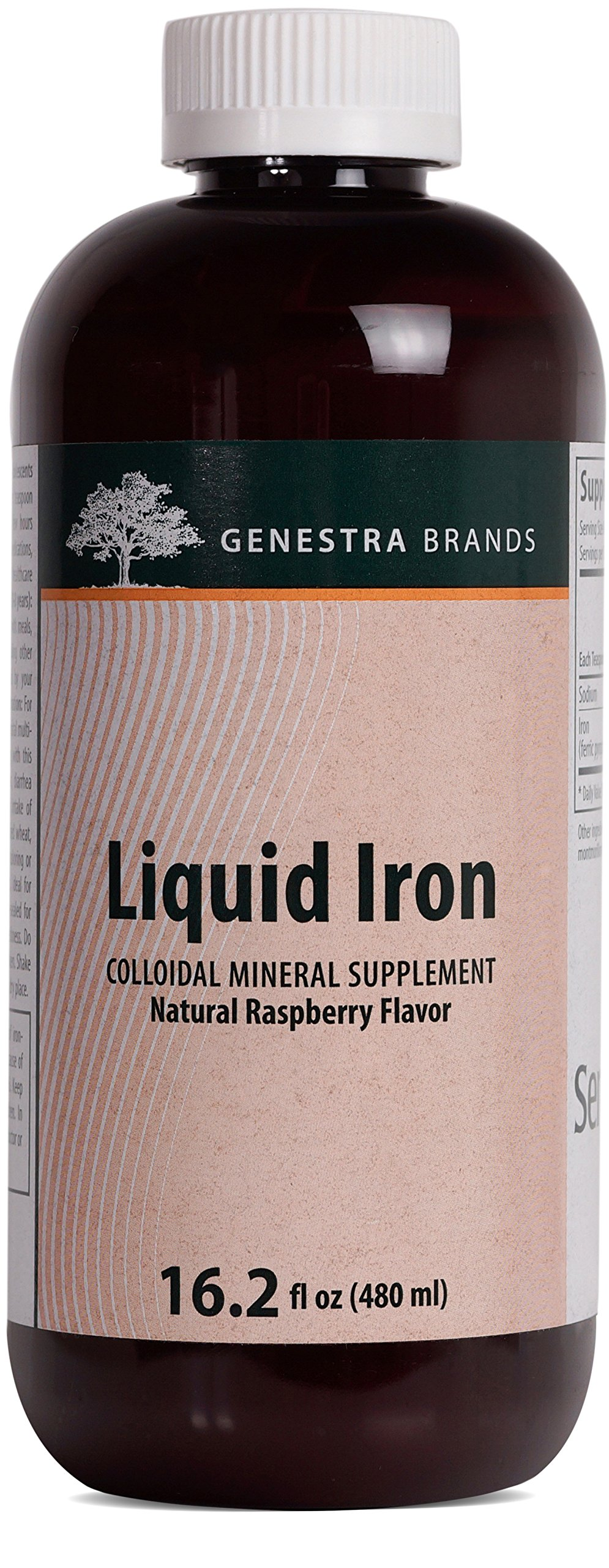 Genestra Brands - Liquid Iron - Colloidal Mineral Supplement - Natural Raspberry Flavor - 16.2 fl oz (480 ml)