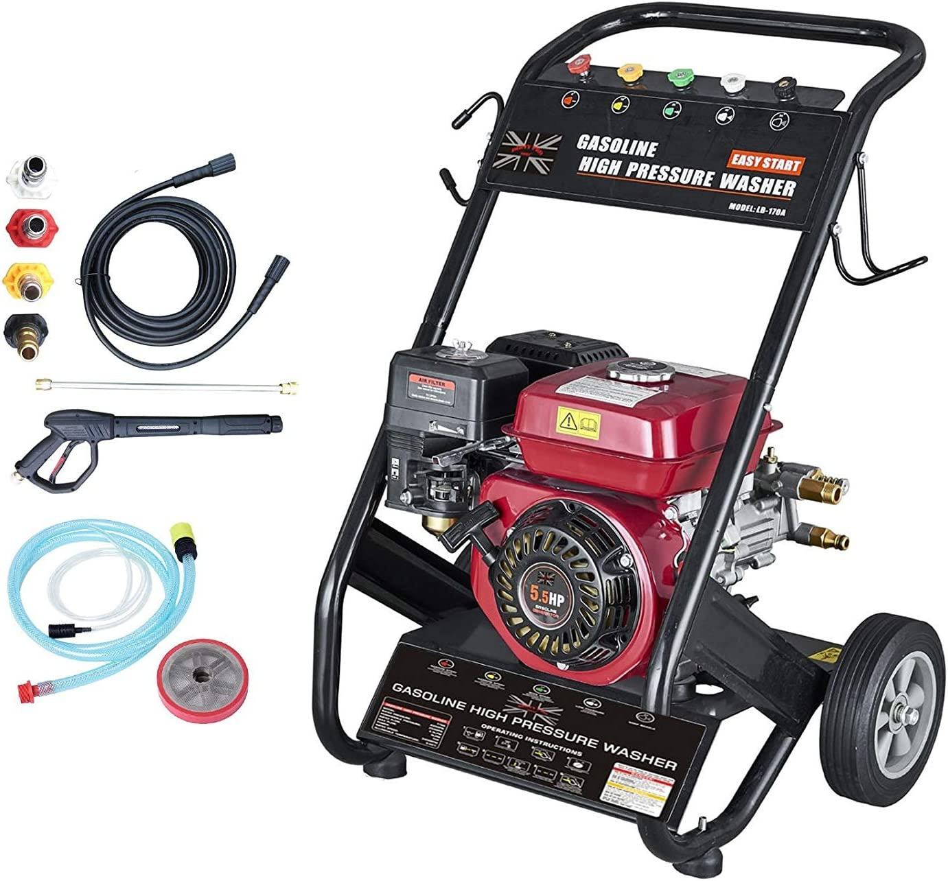 Portable Petrol Powered High Power Pressure Jet Washer 6.5HP Engine MAX 2500PSI