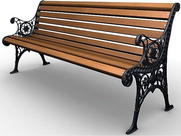 Banco de jardín de hierro fundido macizo, madera de pino, estructura de muebles de jardín: Amazon.es: Hogar