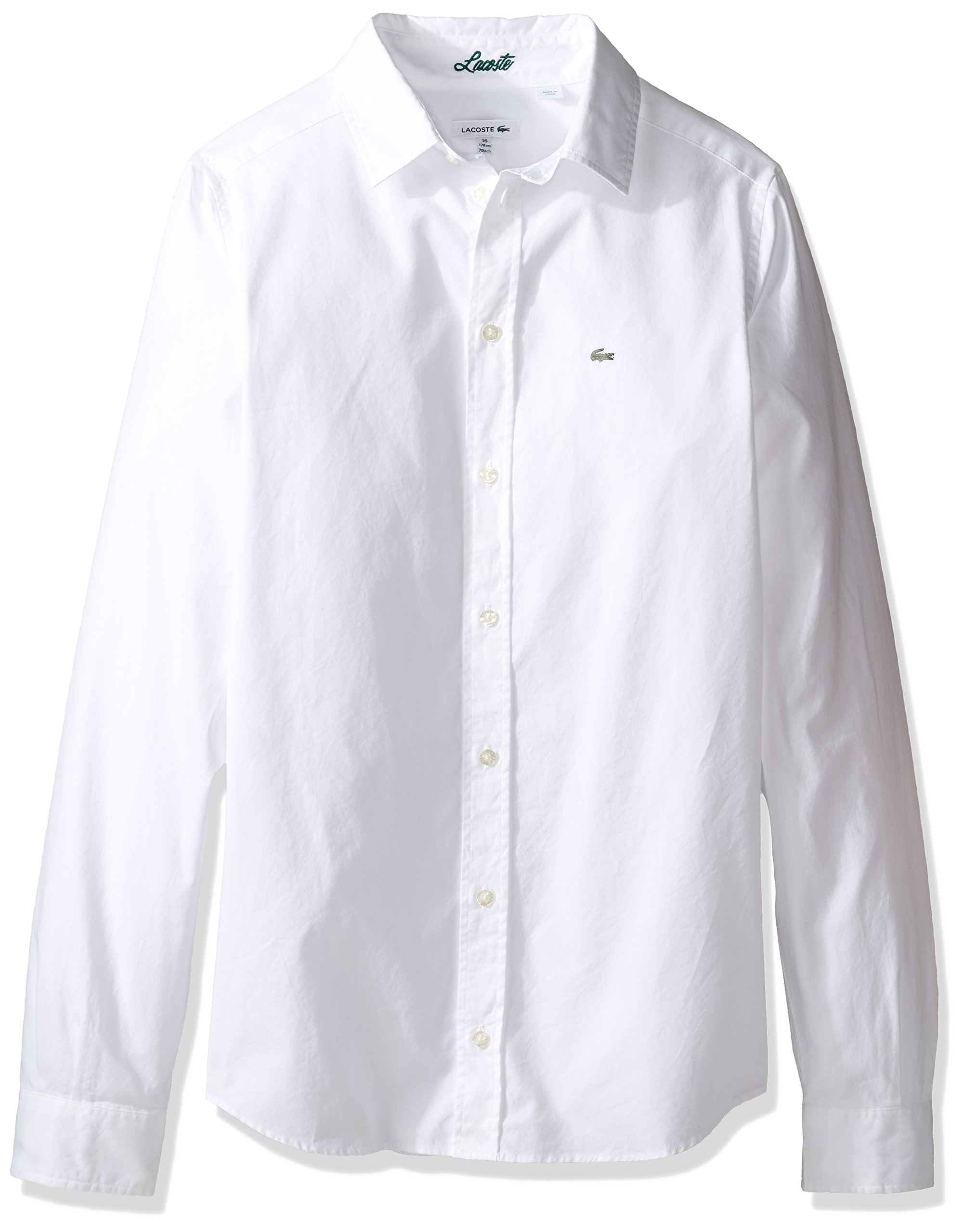 Lacoste Big Boy's Long Sleeve Classic Oxford Woven Shirt, White, 10