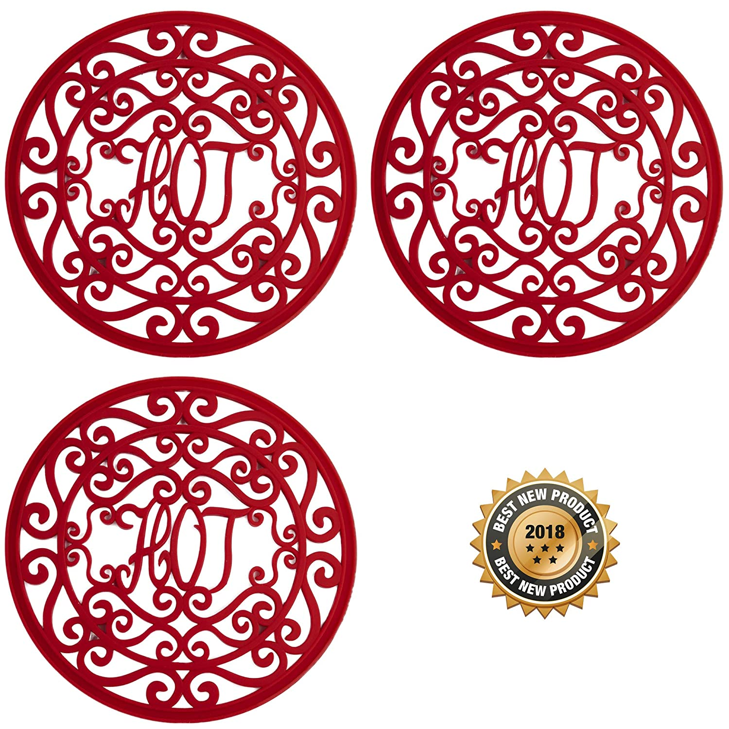"Silicone Trivets Set For Hot Dishes | Modern Kitchen Hot Pads For Pots & Pans | ""Hot"" Ironworks Design (Rustic Charm) Mimics A Cast Iron Trivet (7.5"" Round, Set of 3, Coral Red) Love This Want This LTK-OT-HR"