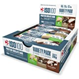 Dymatize ISO 100 Protein Bar, Variety Pack (4 Cookies & Cream, 4 Key Lime, 4 Frosted Brownie), 12 Count