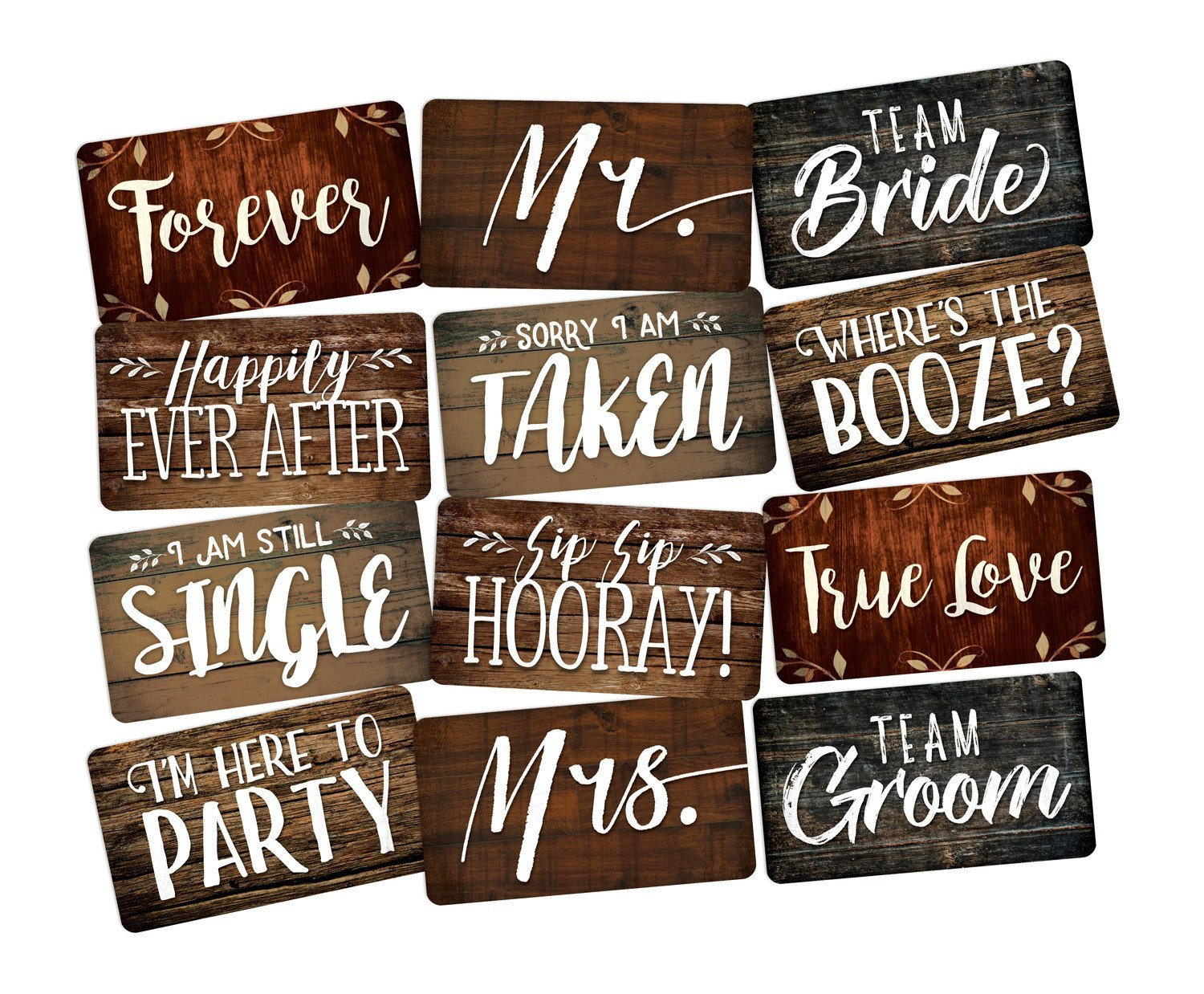PHOTO BOOTH PROP 6 PC SET DOUBLE SIDED, Wedding Prop Signs perfect for DIY Photo Booth Great for Photo Booth Rentals. Fun Wedding Photo Booth Props Guests Will Love!