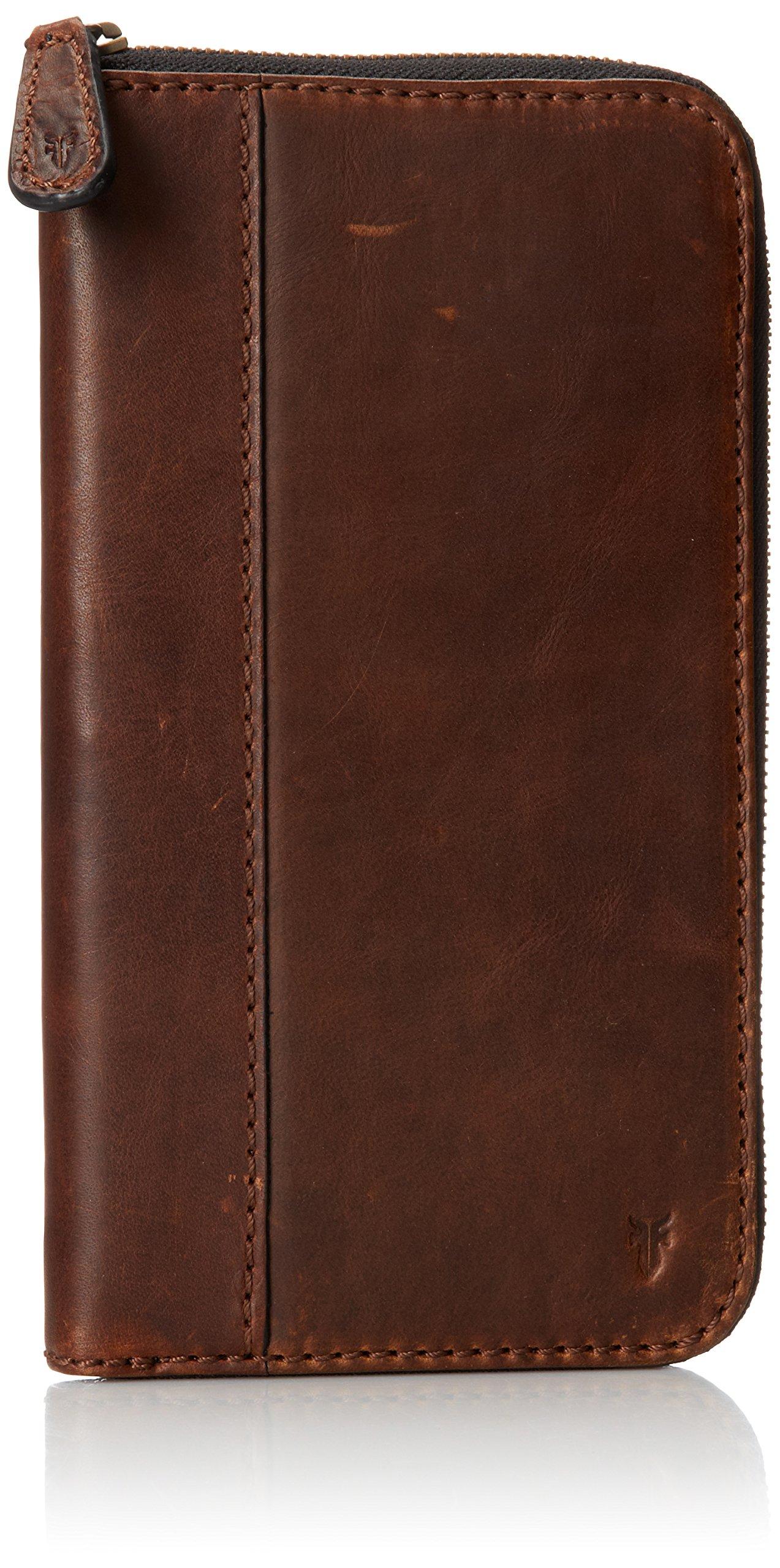 FRYE Men's Logan Travel Wallet, Dark Brown,  One Size