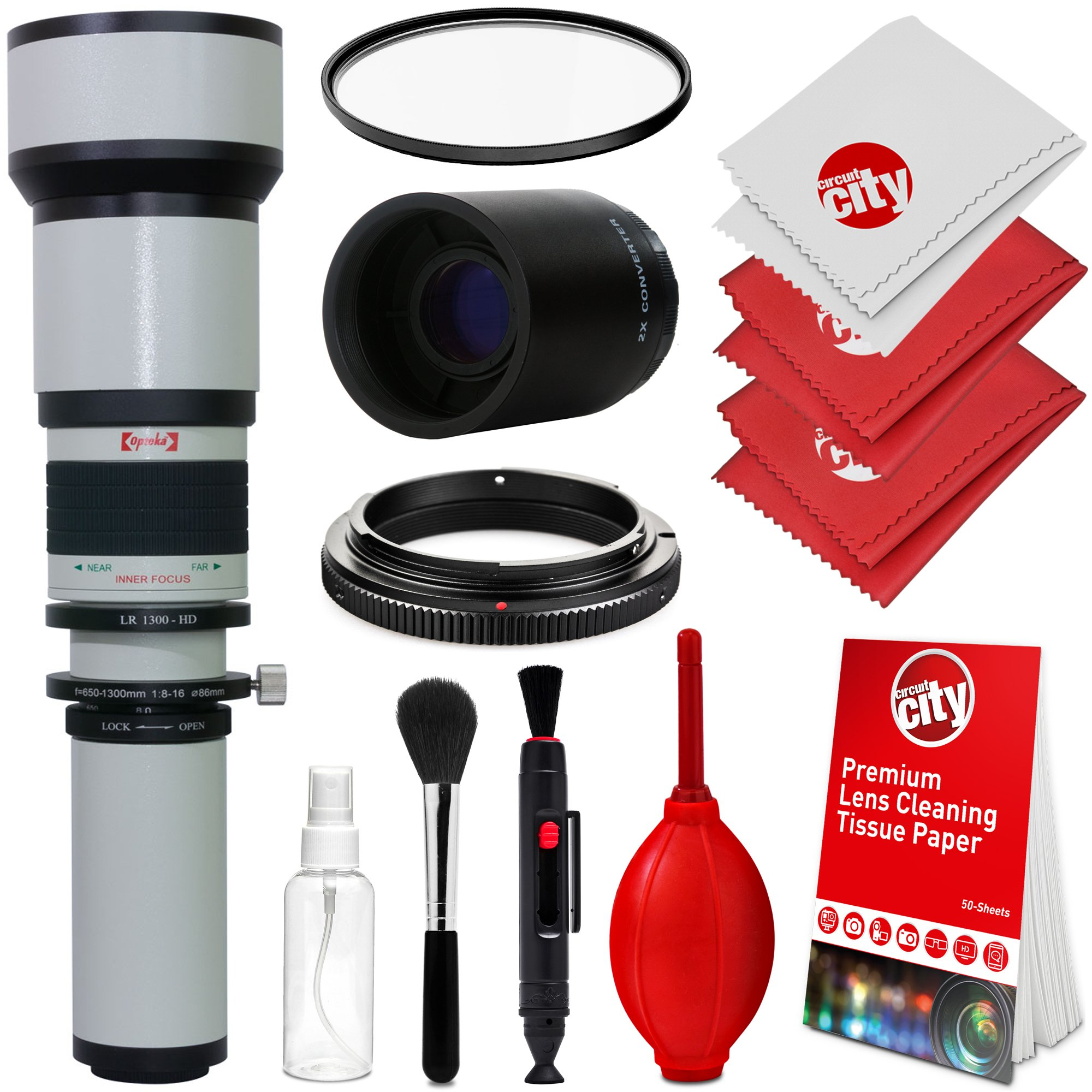 Opteka 650-1300mm (with 2X- 1300-2600mm) f/8 Manual Telephoto Lens + UV for Nikon D5, D4, D810, D800, D750, D610, D500, D7200, D7100, D5500, D5300, D5200, D3400, D3300 and D3200 Digital SLR Cameras