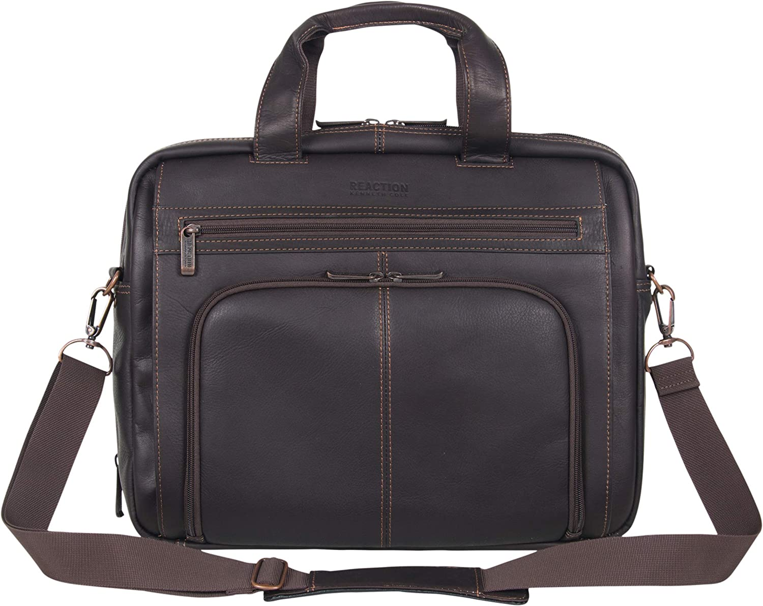 "Kenneth Cole Reaction Manhattan Colombian Leather Expandable RFID 15.6"" Laptop & Tablet Briefcase Bag"