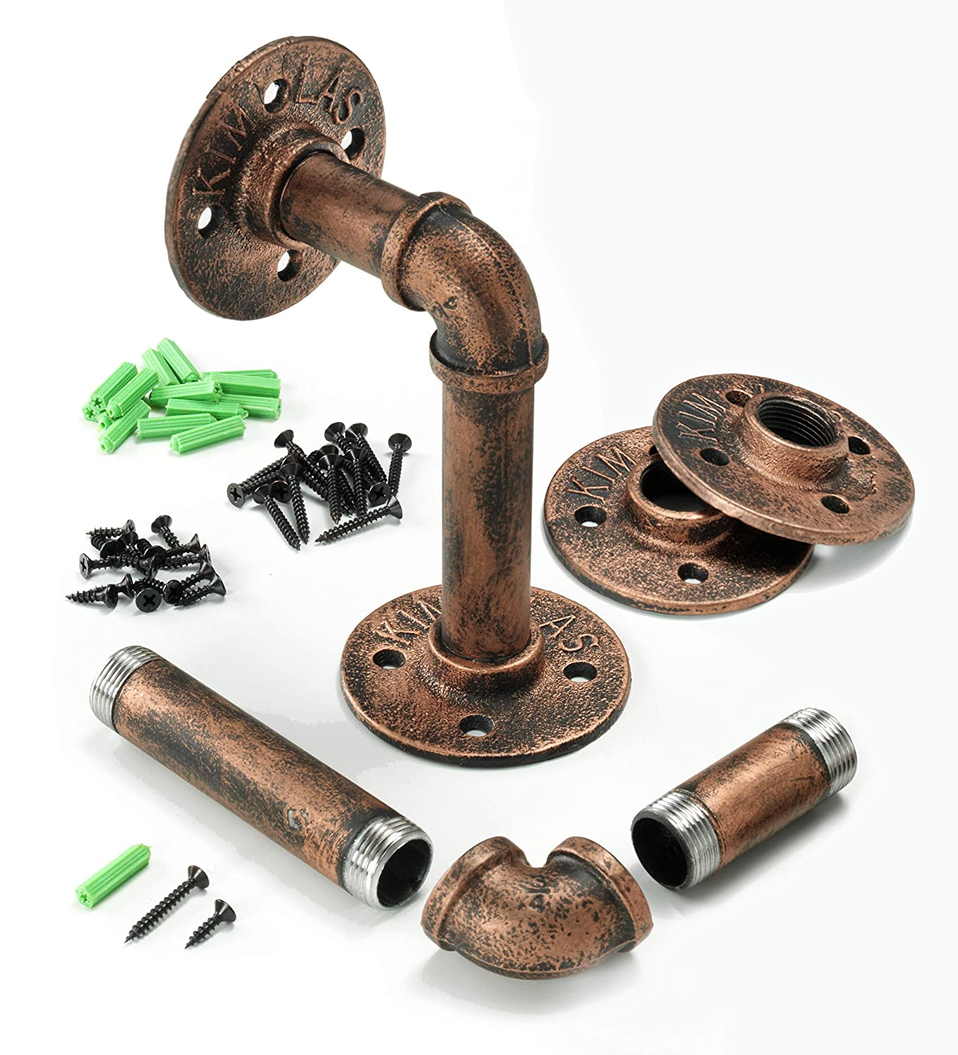 Industrial Iron Pipe Shelving Brackets Pipe Shelf Brackets Pipe Shelves Mark One Home Goods Elbow 4, Red Bronze