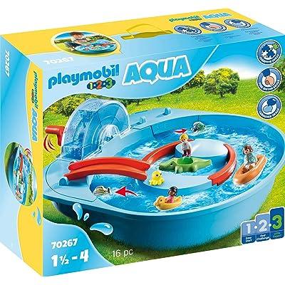PLAYMOBIL 1 2 3 Aqua Splish Splash Water Park Playset 70267: Toys & Games