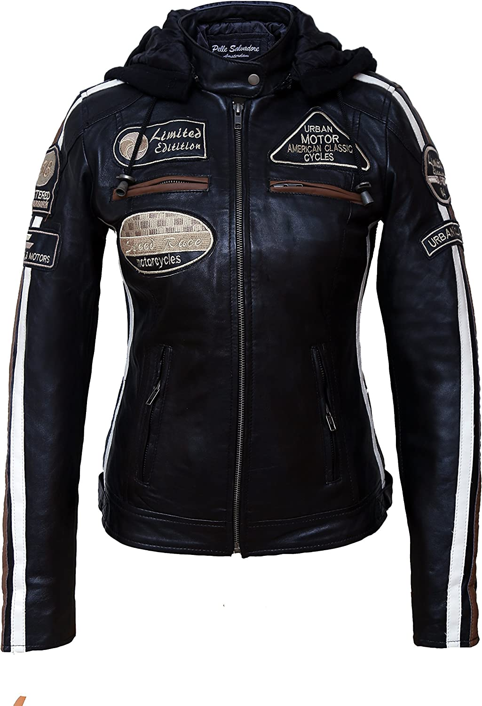 Chaqueta Moto Mujer de Cuero Urban Leather '58 LADIES' | Chaqueta Cuero Mujer | Cazadora Moto de Piel de Cordero | Armadura Removible para Espalda, Hombros y Codos Aprobada por la CE |Negro | S