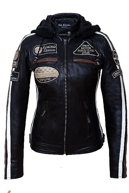 Urban Leather 58 Leren Bikerjack, Chaqueta de Moto para Mujer, Negro, 40 / L