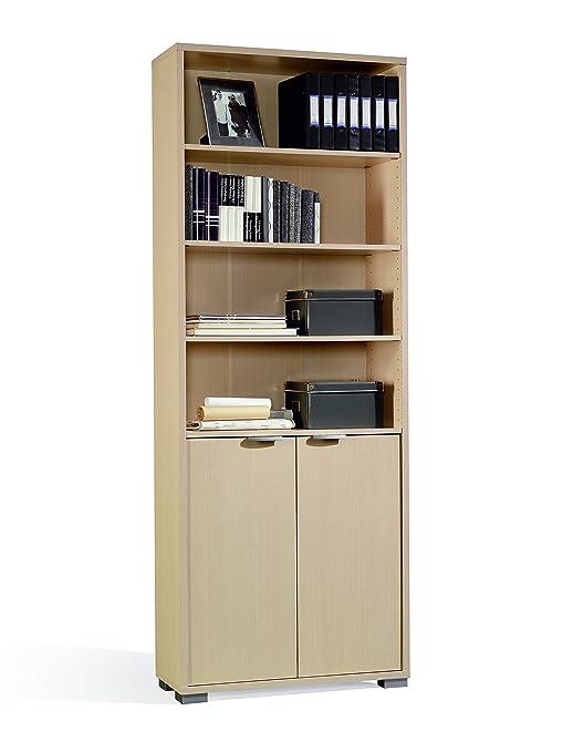 Abitti Libreria o estanteria con Puertas Inferiores, estantes Regulables  para despacho, Comedor u Oficina Color Haya 200x75x33 cm