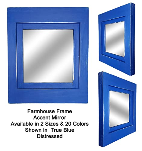 781527519515 Farmhouse Framed Accent Mirror Available in 2 Sizes and 20 Color Shown in  True Blue - Accent Wall Mirror – Rustic Style Home Decor – Shabby Chic Decor  ...