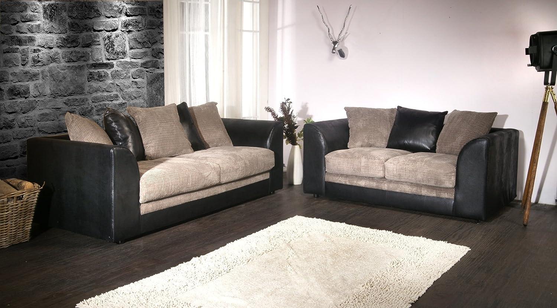 Dylan Byron Negro y Gris Tejido sofá sofás 3 + 2 plazas ...