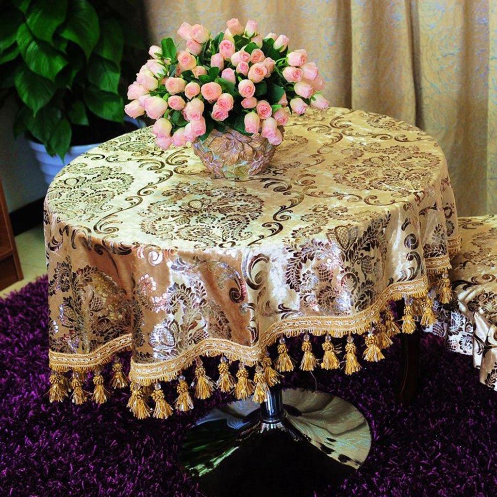 Europäische Tischdecke Europäische Tischdecken Runde Tischdecke Heiße Farbe Gold Tischdecken Tee Tischdecken ( Farbe   A , größe   Round -220 cm ) B07BPHSLX1 TischdeckenSchöne Kunst | Verkauf Online-Shop