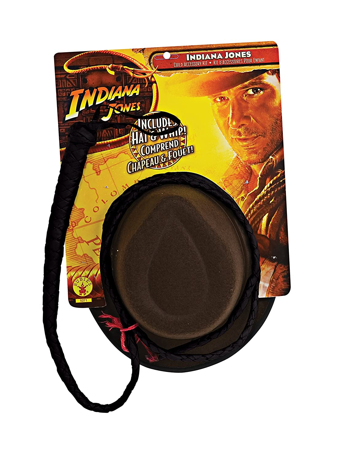 Indiana Jones and the Kingdom of the Crystal Skull Adult Hat and Whip Set Brown One Size Rubies Costumes - Apparel 5272