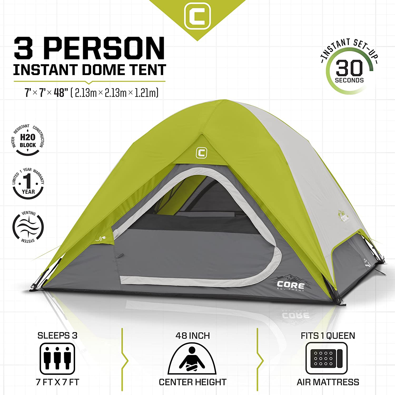 Amazon.com : CORE 3 Person Instant Dome Tent - 7' x 7' : Sports & Outdoors