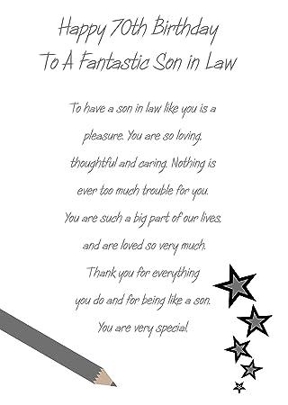 Son In Law 70th Birthday Card