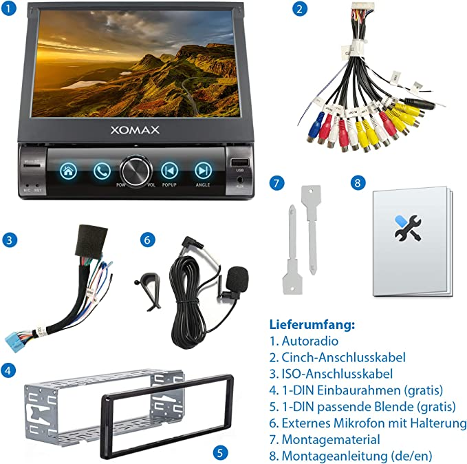 XOMAX XM-V762 Radio de Coche I Autoradio con Bluetooth Manos Libres I 7