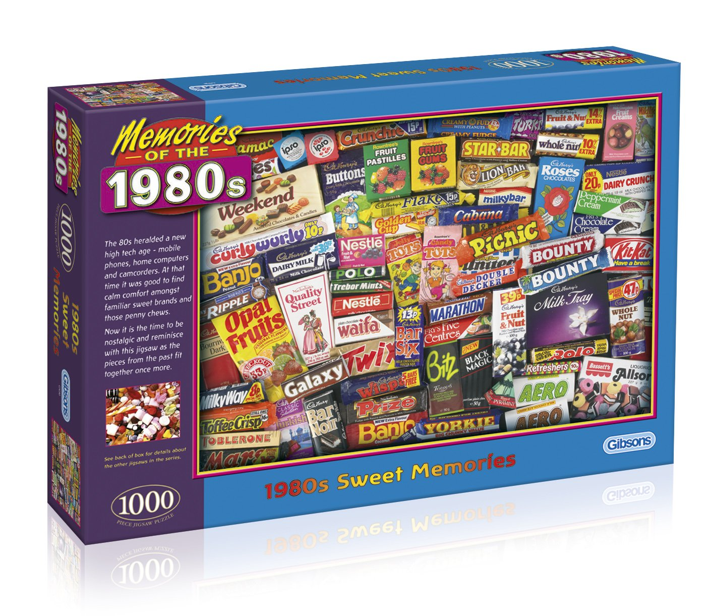 Memories of the 1980s Jigsaw Puzzle (1000 pieces). Featuring classic sweets and chocolate bars.