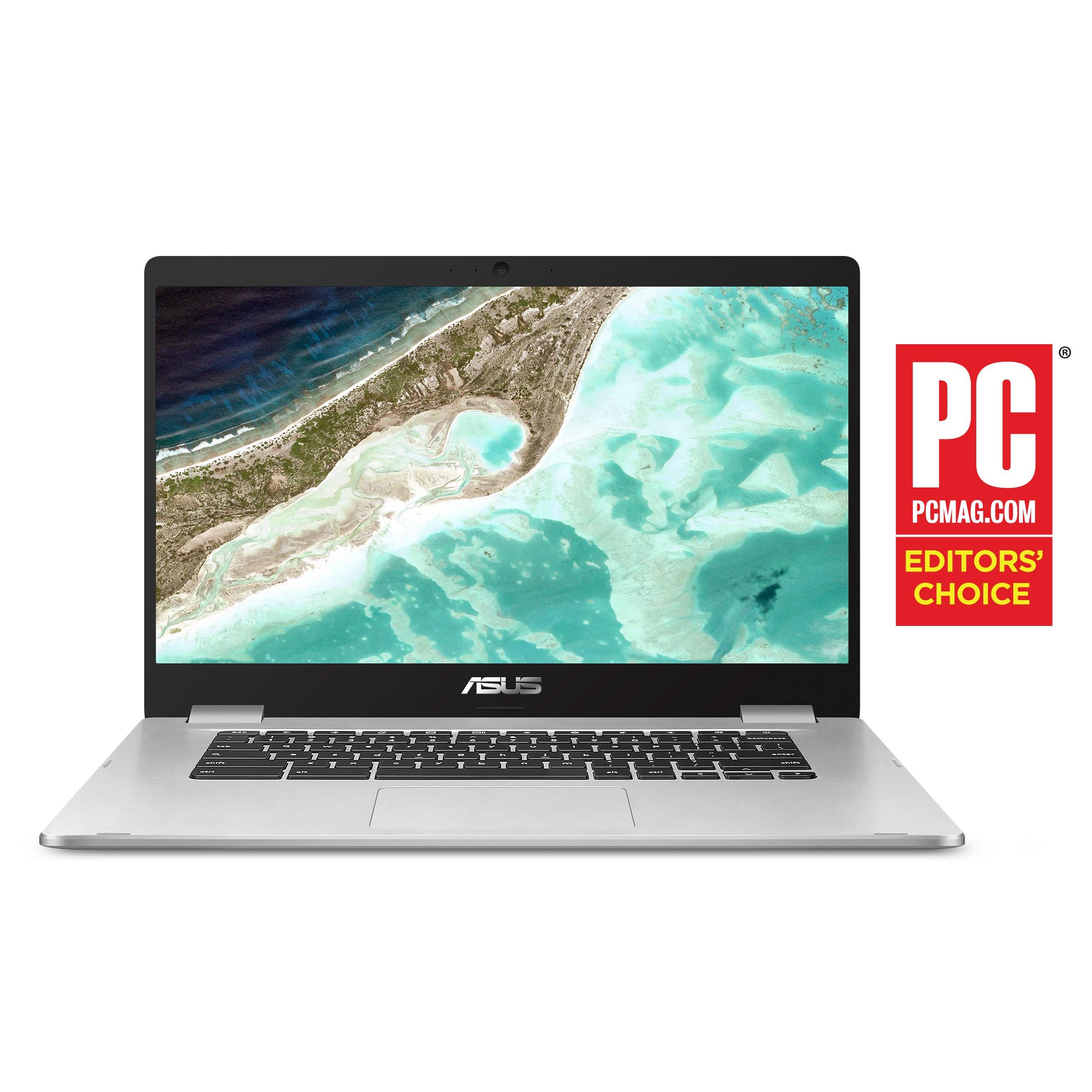 Asus Chromebook C523NA-DH02 15.6'' HD NanoEdge Display, 180 Degree, Intel Dual Core Celeron Processor, 4GB RAM, 32GB eMMC Storage, Silver Color by ASUS