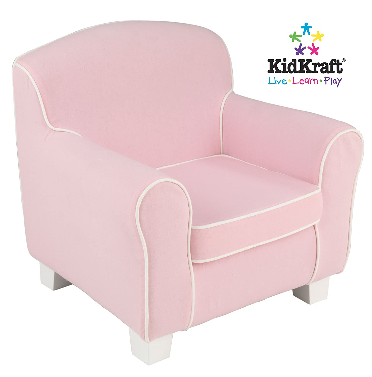 Amazon KidKraft Pink Chair with White Piping Toys & Games