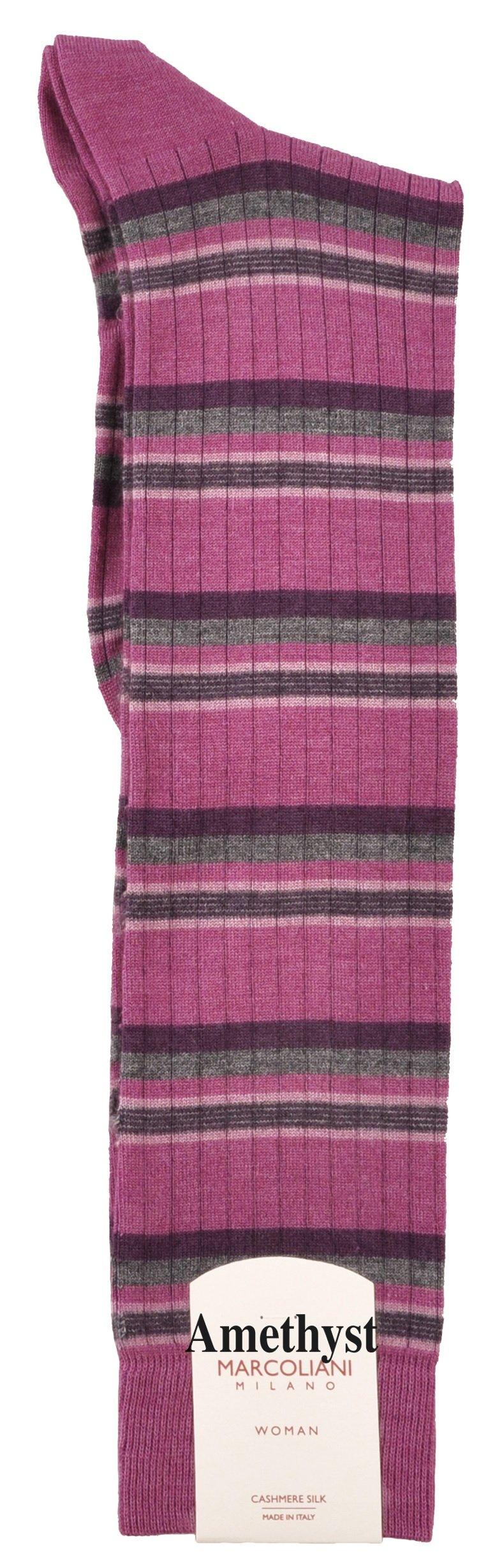 LIMITED EDITION Knee-High Cashmere & Silk Socks Chic Fashion Stripe - One Pair Amethyst