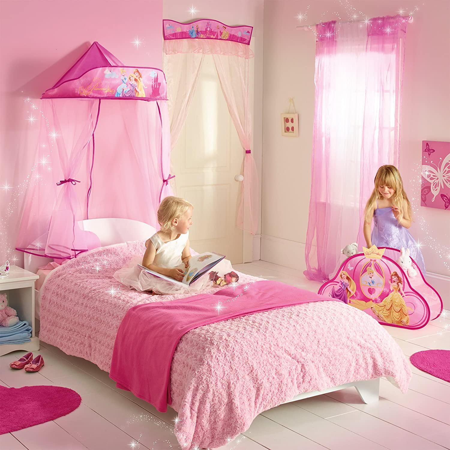 Amazon.com Disney Princess Bed Canopy for Single Bed and Toddler Bed by Disney Princess Wall Art  sc 1 st  Amazon.com & Amazon.com: Disney Princess Bed Canopy for Single Bed and Toddler ...