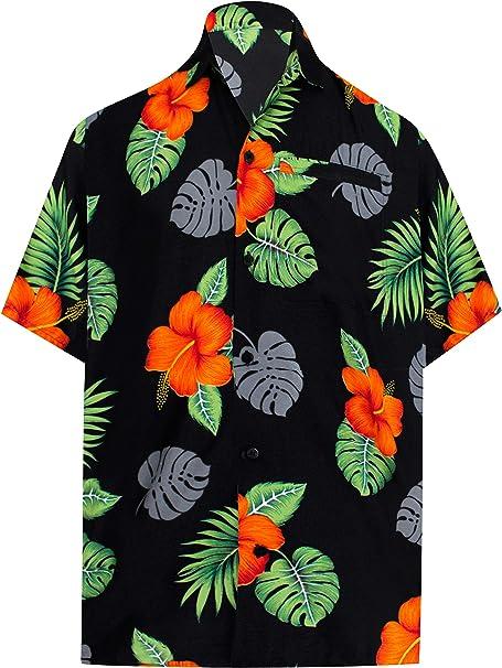 LA LEELA Casual Hawaiana Camisa para Hombre Señores Manga Corta Bolsillo Delantero Surf Palmeras Caballeros Playa