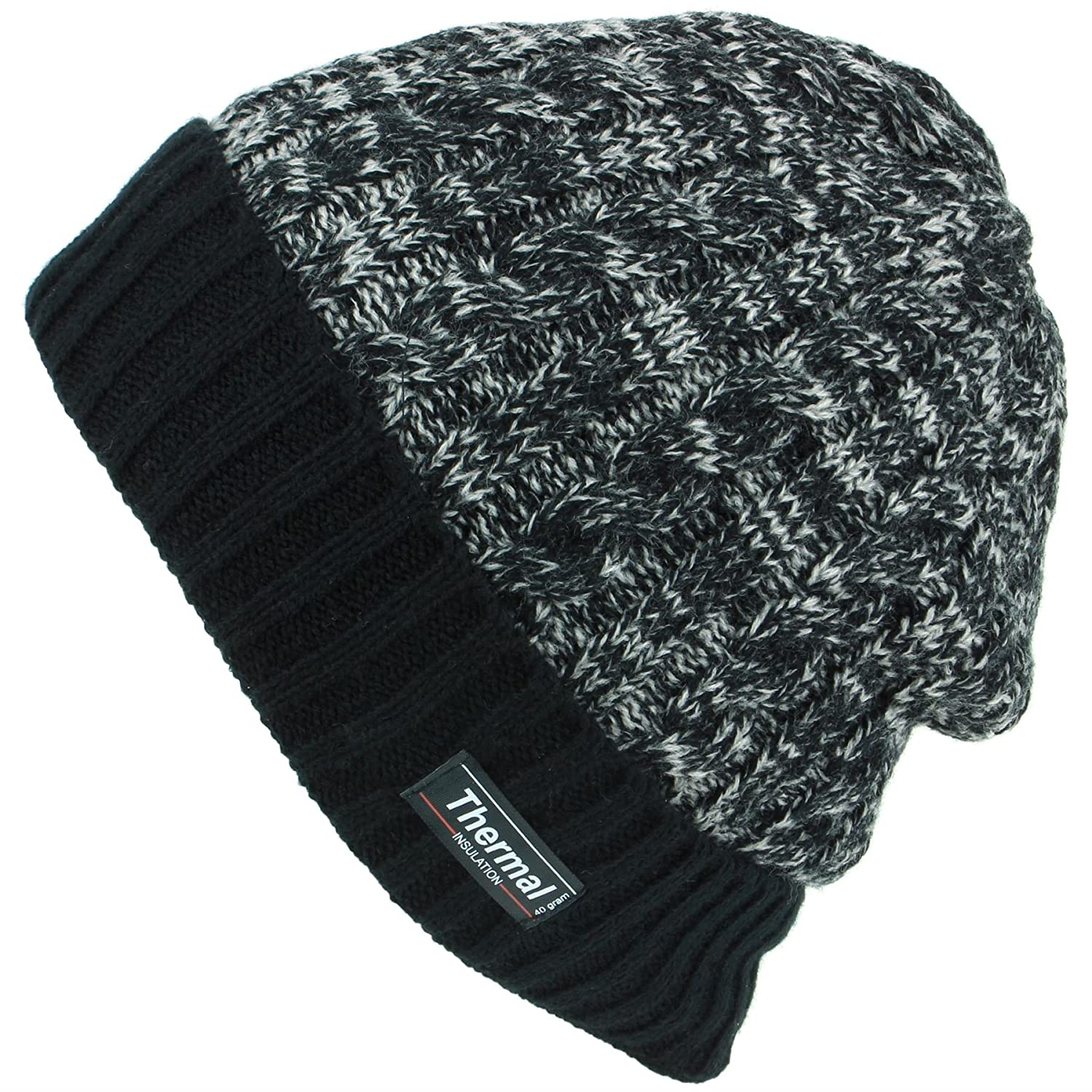 d86b426bb2aee Thinsulate Cable Knit Marl Beanie Hat with Turn-up - Black  Amazon.co.uk   Clothing