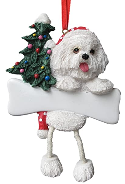 "Bichon Frise Ornament with Unique ""Dangling Legs"" Hand Painted  and Easily Personalized Christmas - Amazon.com: Bichon Frise Ornament With Unique"