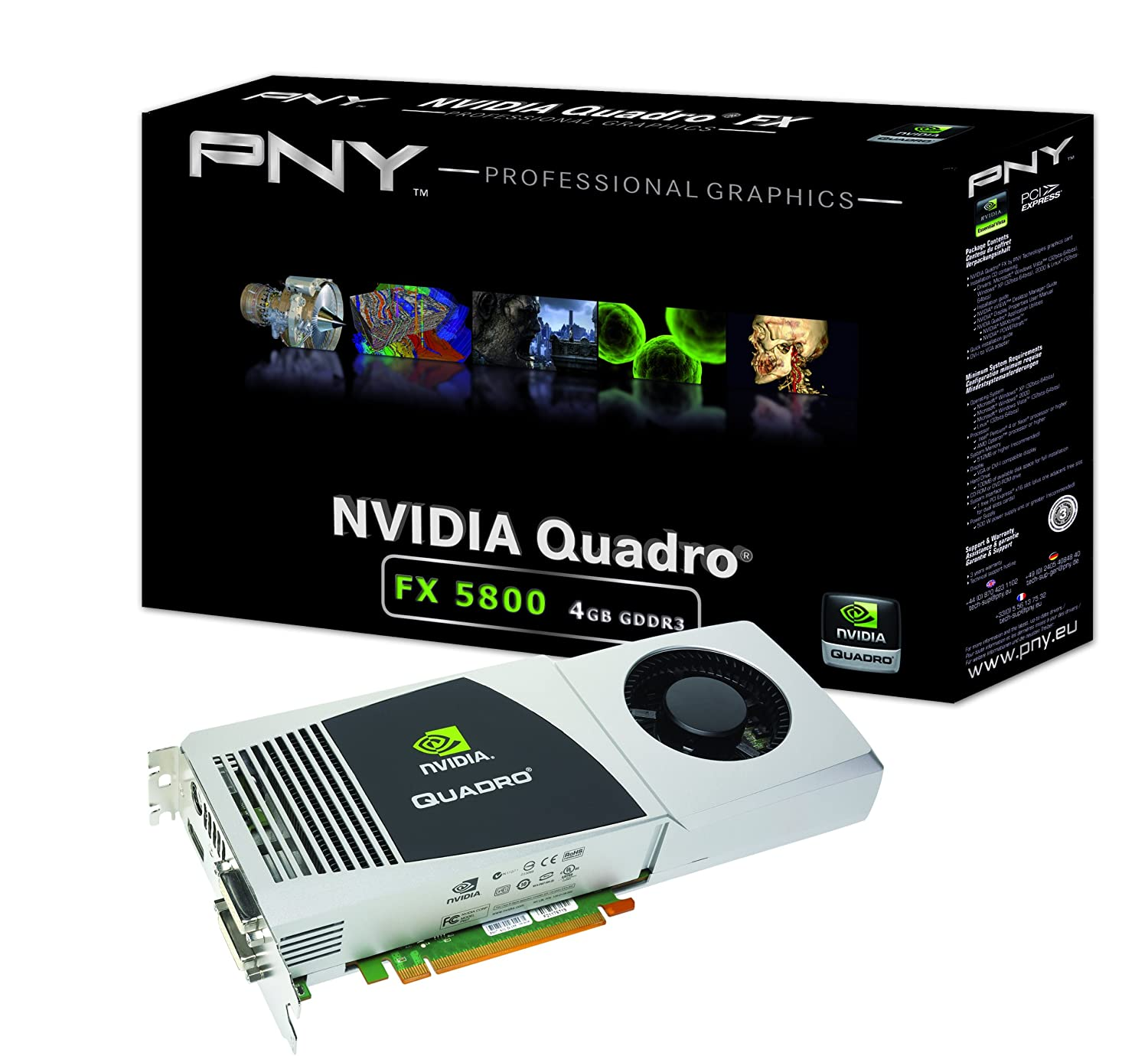 NVIDIA Quadro FX 5800 by PNY 4GB GDDR3 PCI Express Gen 2 x16 Dual DVI-I DL DisplayPort and Stereo OpenGL, DirectX, CUDA, and OpenCL Profesional ...