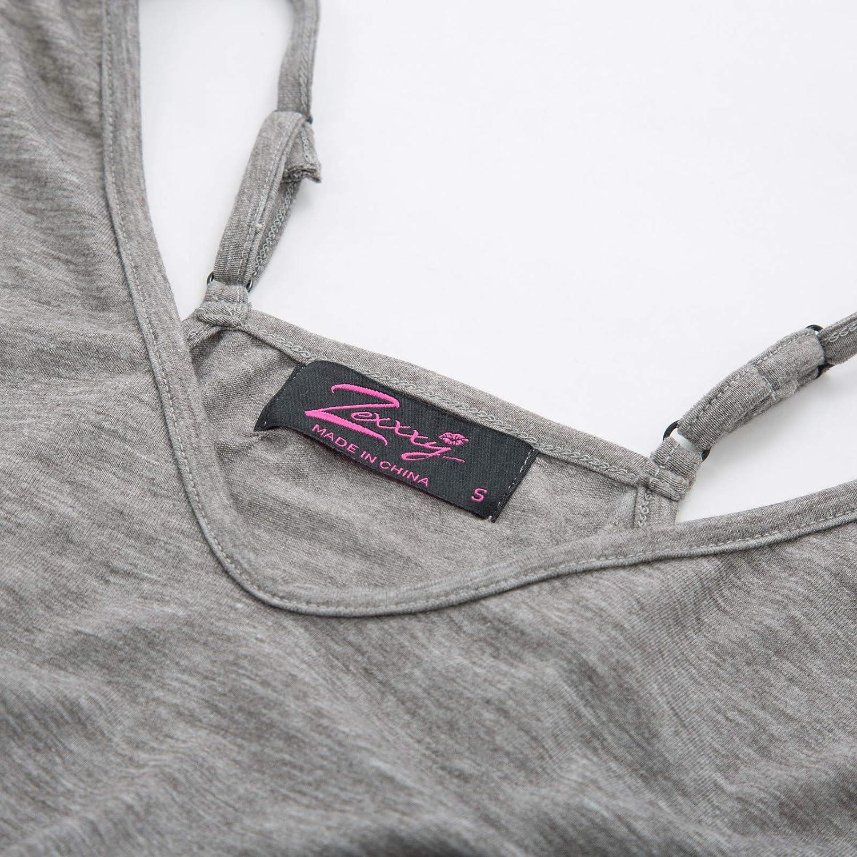 Zexxxy Camicia da Notte in Cotone Donna V Neck Nihgtie Senza Maniche Spaghetti A-Line Full Slip