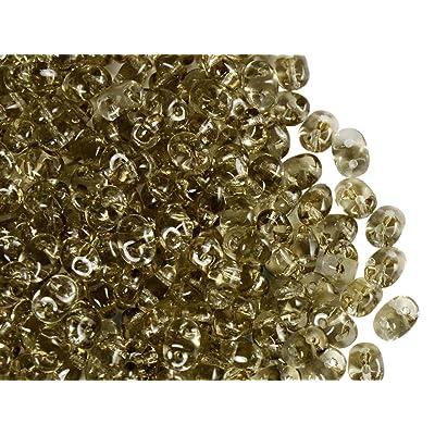 20 gr. Cuentas de Vidrio Dos Agujero Checas SuperDuo Beads 2,5x5 mm Crystal Bronze Aluminium: Hogar
