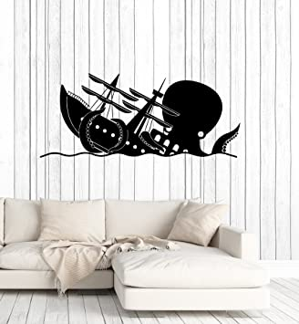 Amazon com: Funny Kraken Vinyl Wall Decal Octopus Ship Wave