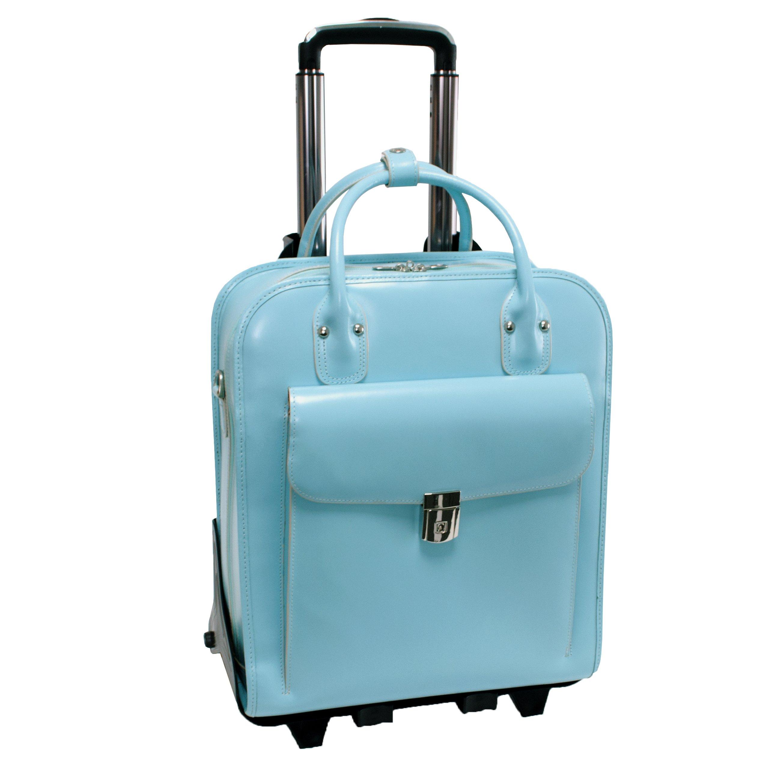 McKleinUSA LA GRANGE 96498 Blue Leather Vertical Detachable-Wheeled Ladies' Briefcase