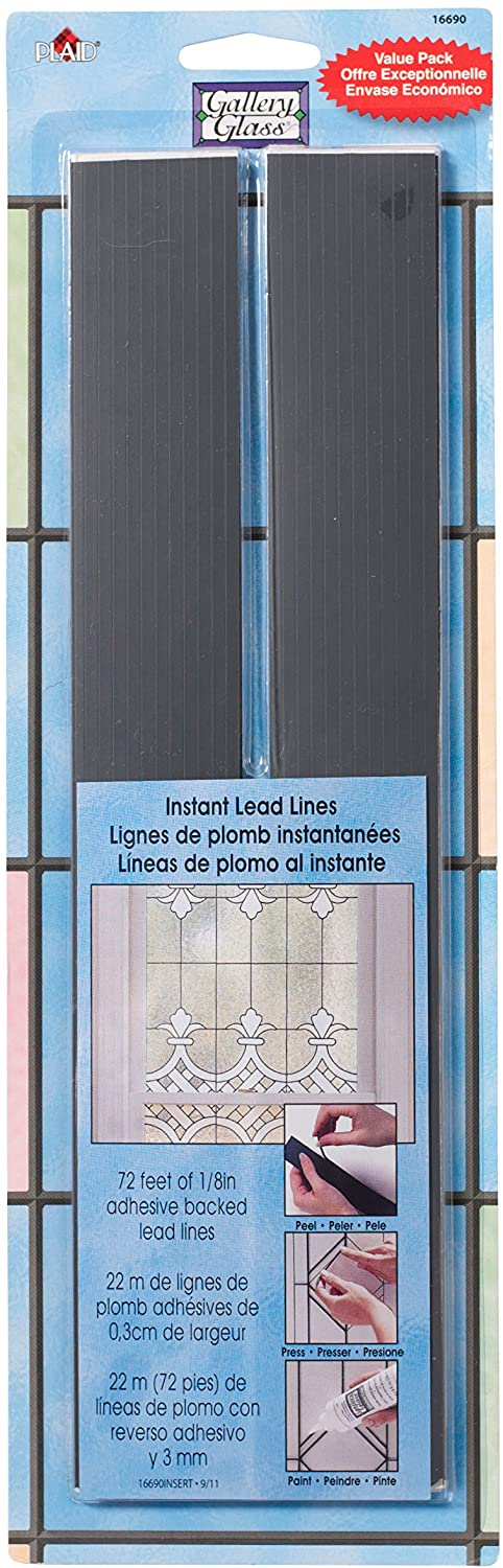 Plaid:Craft Gallery Glass Instant Lead Lines 12 Black 1//16 Thick 21//Packaging